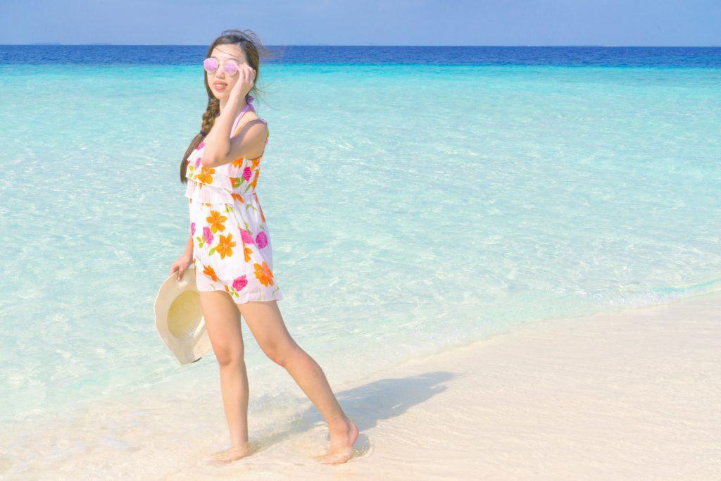 floral chiffon dress Maldives lookbook