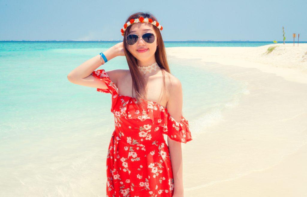 Floral print dress Maldives lookbook summer outfit